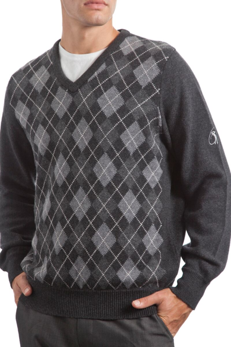 Heritage V Neck Argyle Touch of Cashmere Sweater Product Image 2