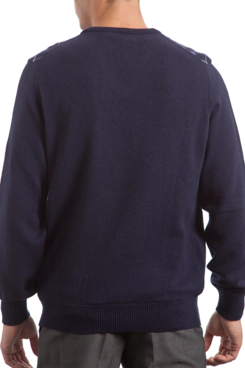 Heritage V Neck Argyle Touch of Cashmere Sweater Product Image 3