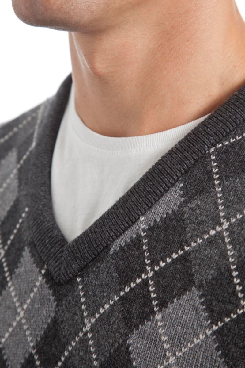 Heritage V Neck Argyle Touch of Cashmere Sweater Product Image 6