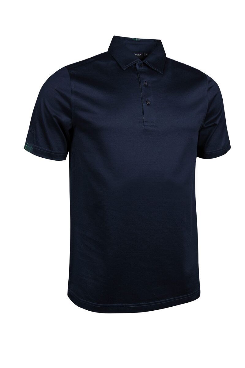 Mens Tartan Placket Cuff Collar Mercerised Cotton Golf Polo Shirt Product Swatch