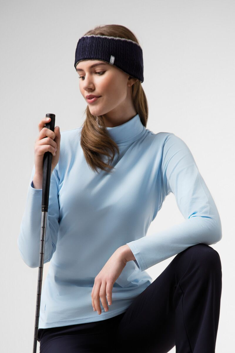 Ladies Roll Neck Long Sleeve Cotton Golf Polo Shirt Product Image 1