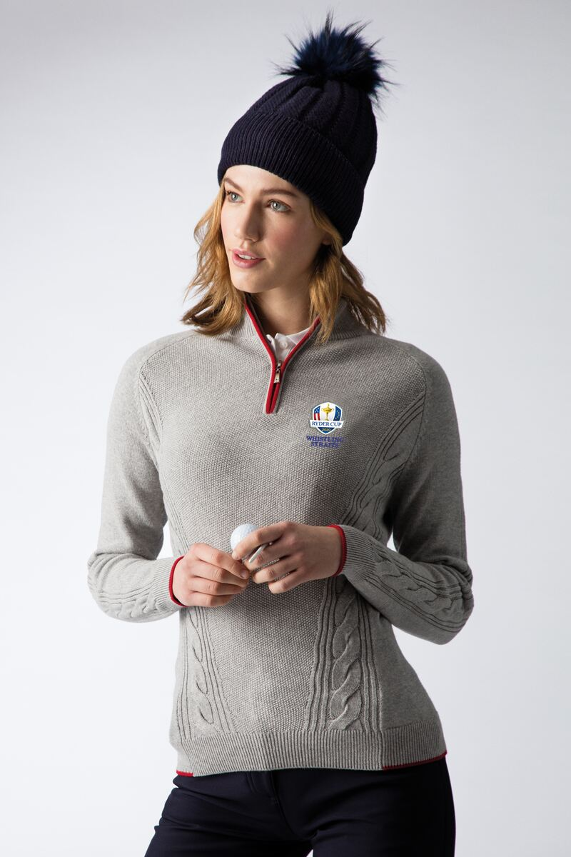 Official Ryder Cup 2020 Ladies Zip Neck Moss Cable Touch of Cashmere Golf Sweater