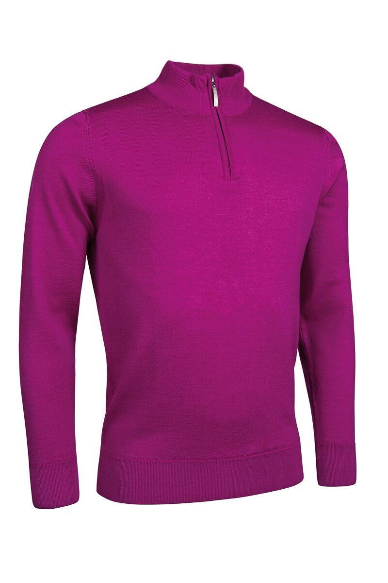 Mens Zip Neck Merino Wool Golf Sweater Garnet S