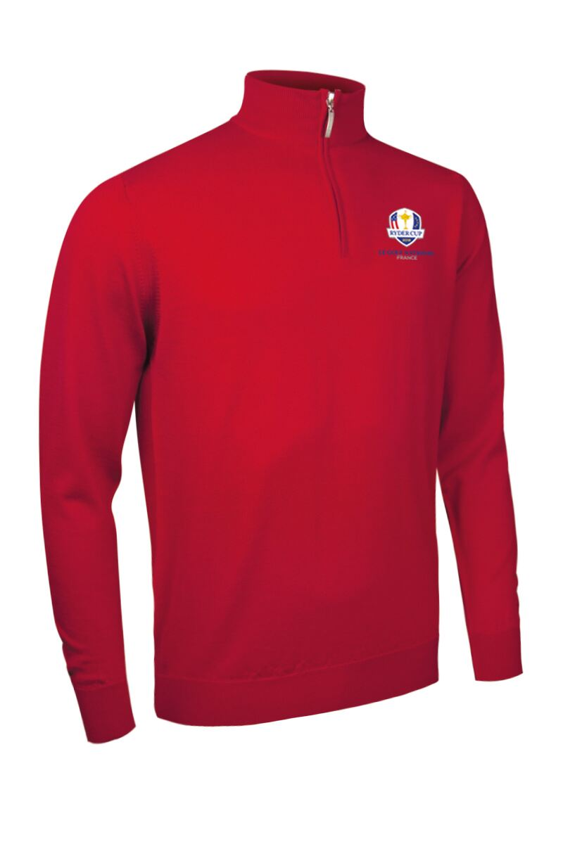 Official Ryder Cup 2018 Mens Zip Neck Merino Wool Sweater Product Swatch
