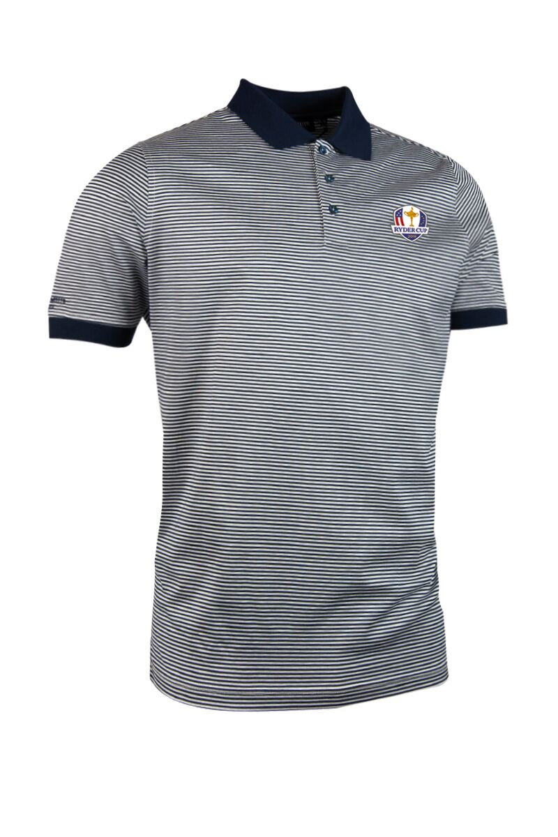 Official Ryder Cup 2018 Mens Rib Cuff Narrow Stripe Luxury Mercerised Cotton Golf Polo Shirt Product Swatch
