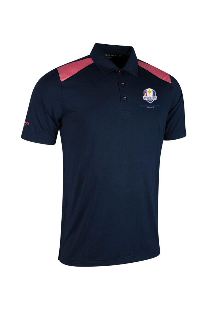 Official Ryder Cup 2018 Mens Contrast Shoulder Laser Cut Placket Golf Polo Shirt Product Swatch