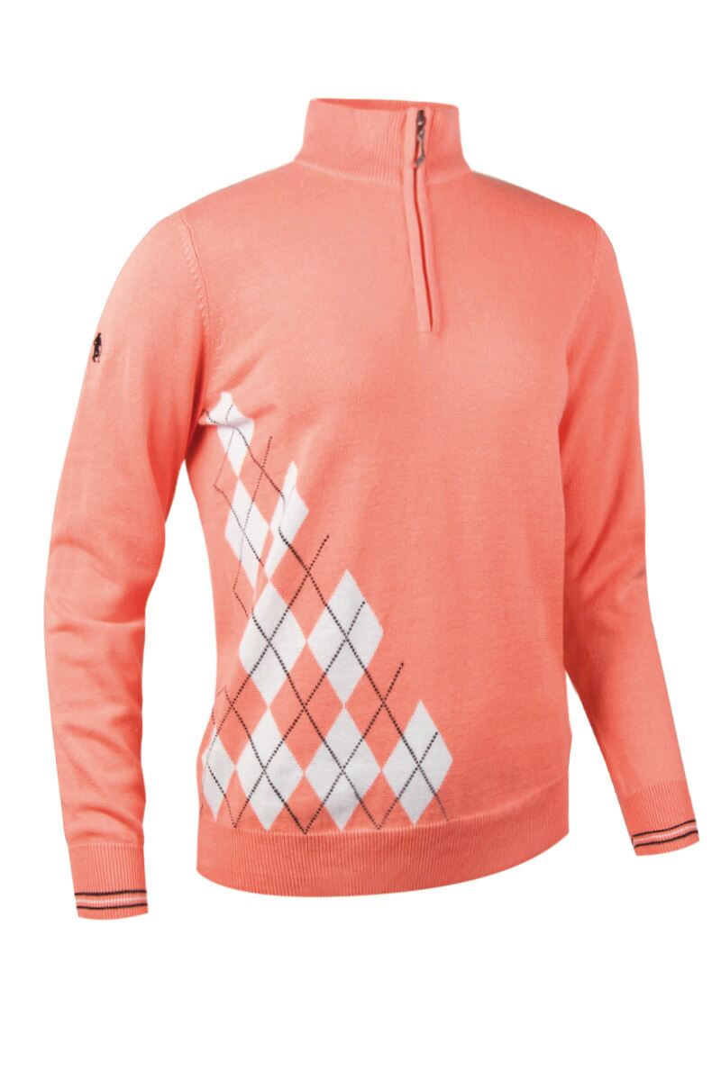 Ladies Zip Neck Offset Diamond Golf Sweater - Sale Product Swatch
