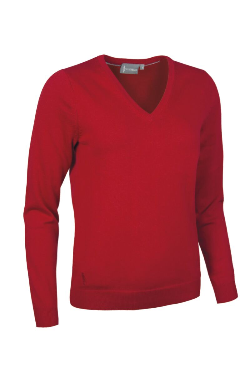 Ladies V Neck Cotton Golf Sweater Product Swatch