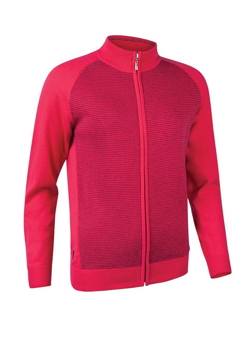 Ladies Zip Front Birdseye Lined Cotton Golf Sweater Product Swatch