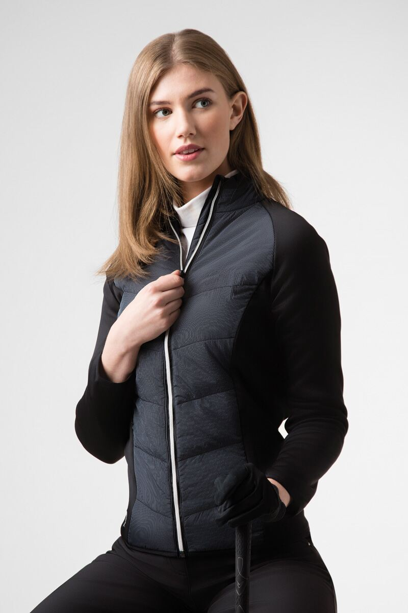 Ladies Zip Front Pinstripe Quilted Performance Golf Jacket Product Image 1