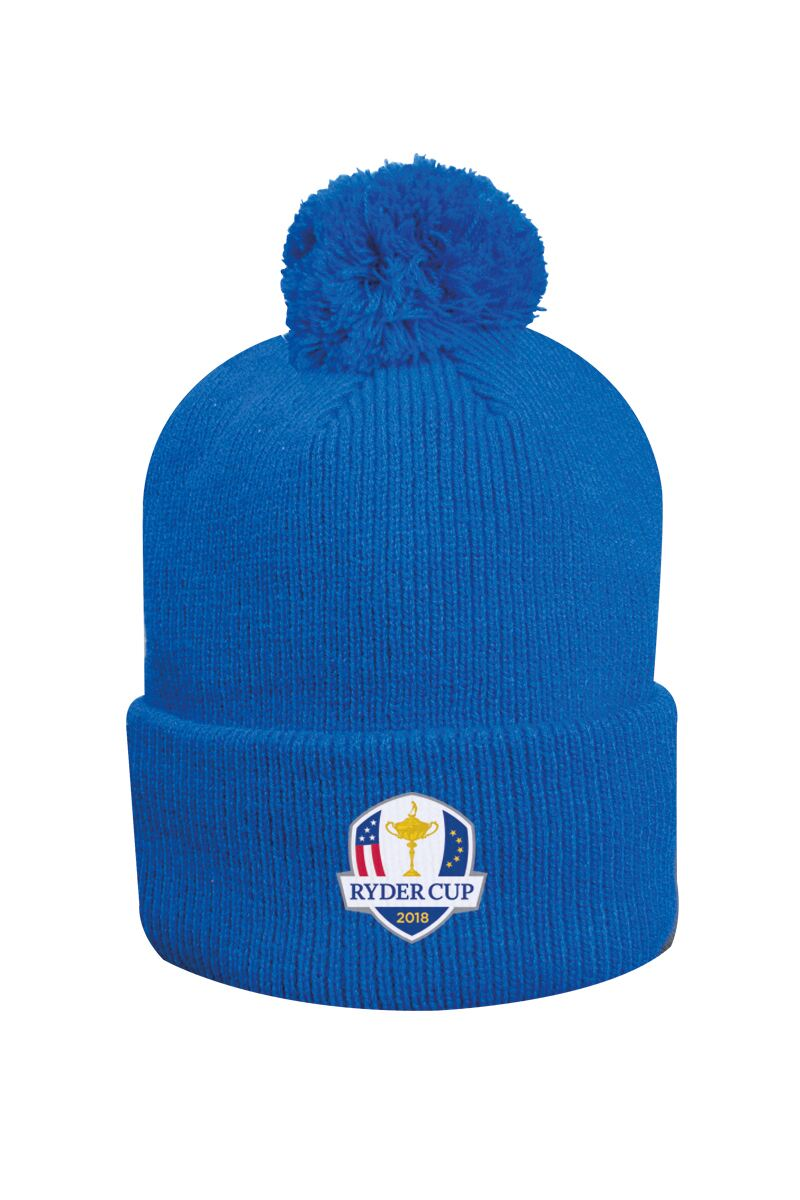 Official Ryder Cup 2018 Unisex Thermal Lined Turn Up Rib Merino Golf Bobble Hat Product Swatch