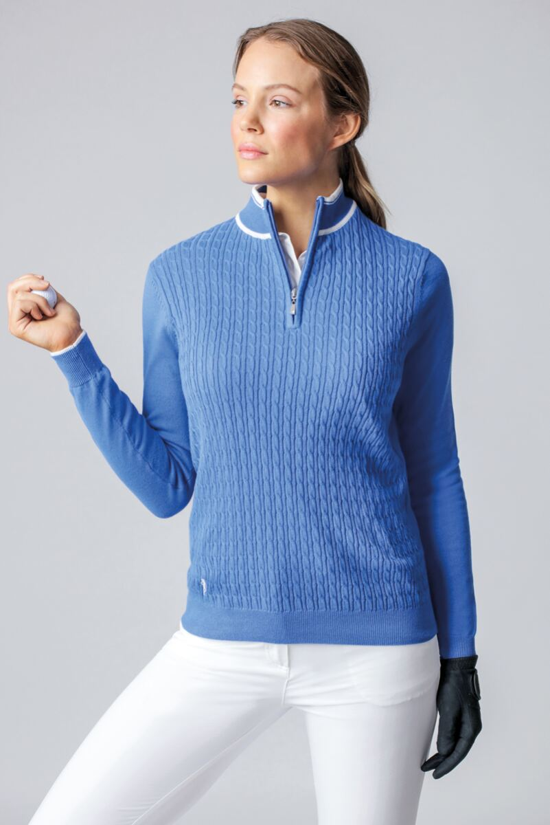 Ladies Zip Neck Micro Cable Cotton Golf Sweater