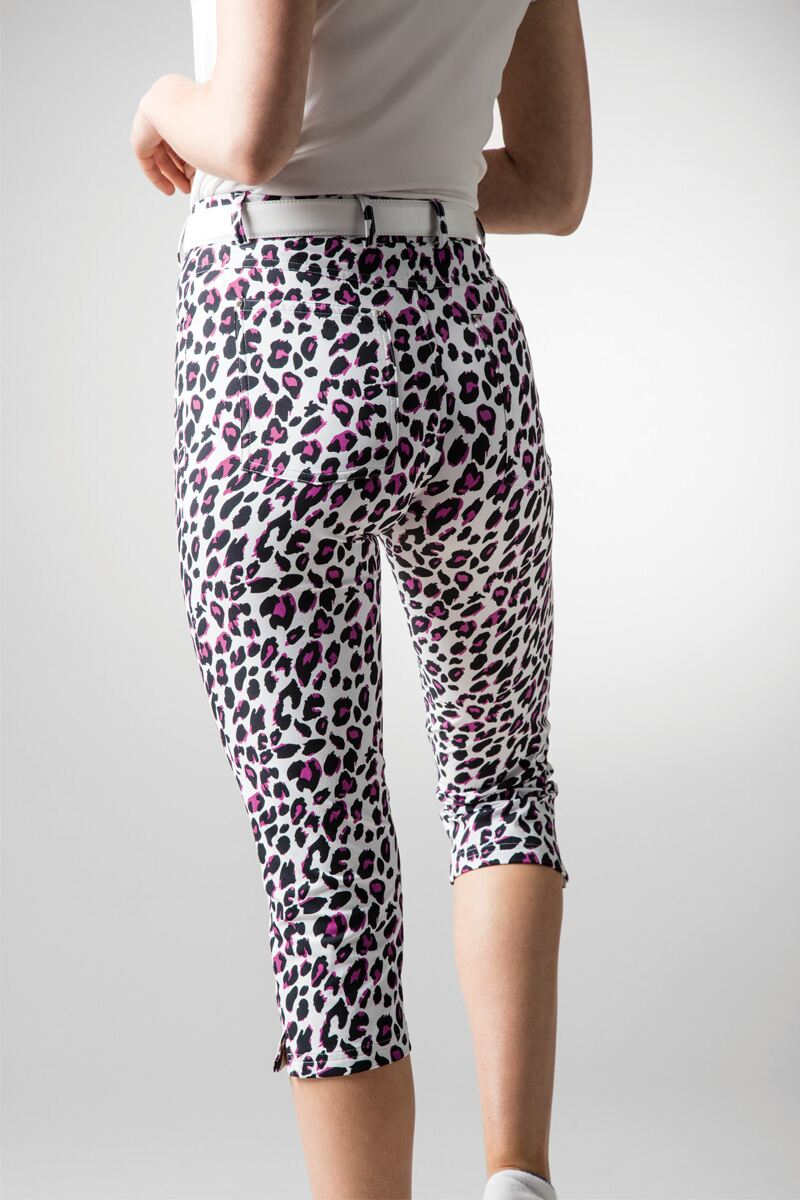 Ladies Lightweight Stretch Printed Performance Golf Capri Pants Product Image 2