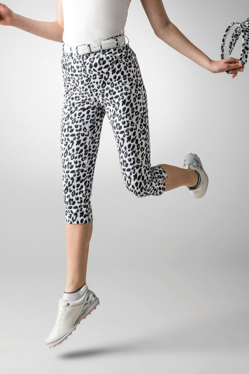 Ladies Lightweight Stretch Printed Performance Golf Capri Pants Product Image 1