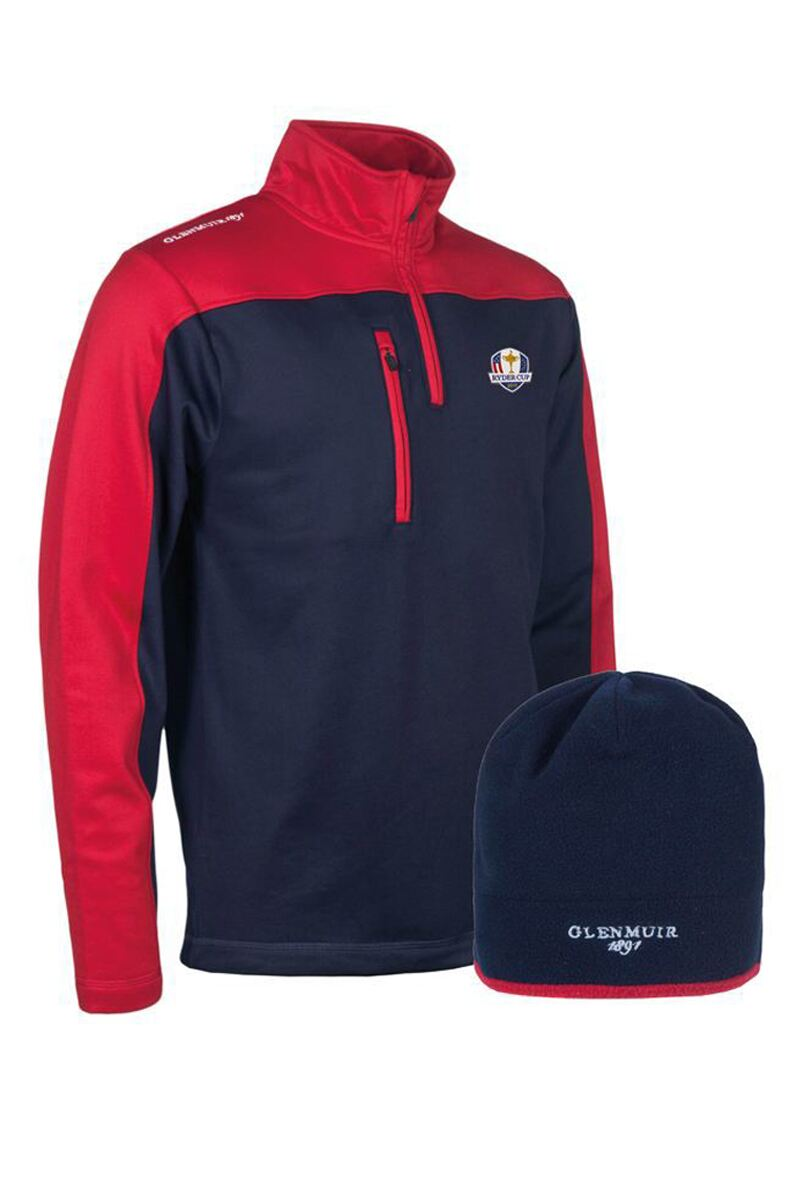 Official Ryder Cup 2018 Mens Performance Golf Midlayer & Hat Gift Box