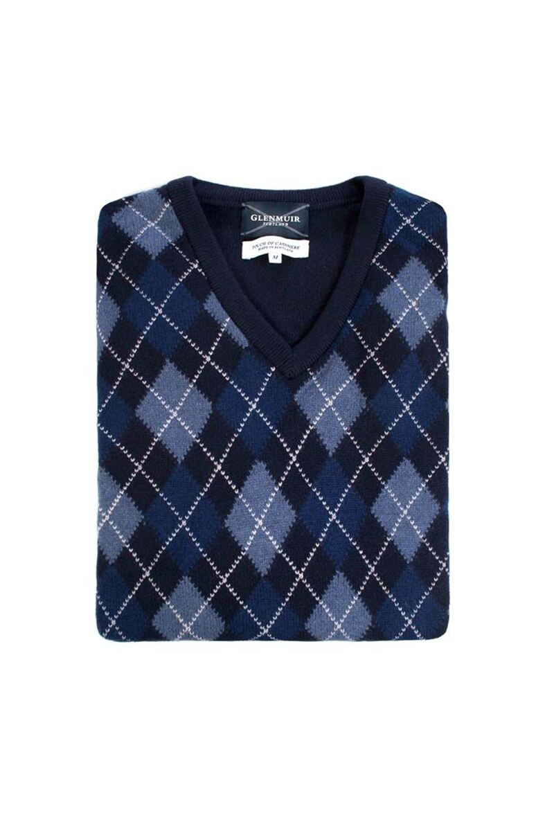 Heritage V Neck Argyle Touch of Cashmere Sweater Product Swatch