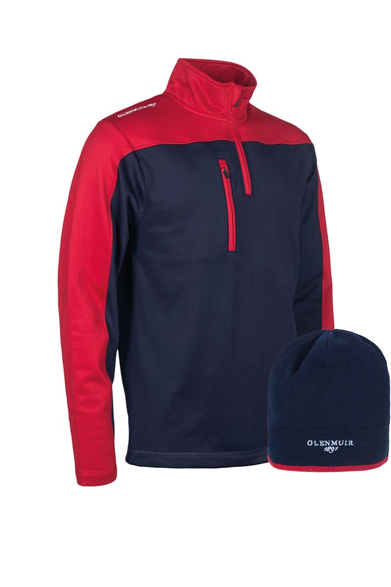 Mens Zip Neck Performance Golf Midlayer & Hat Gift Box Product Swatch