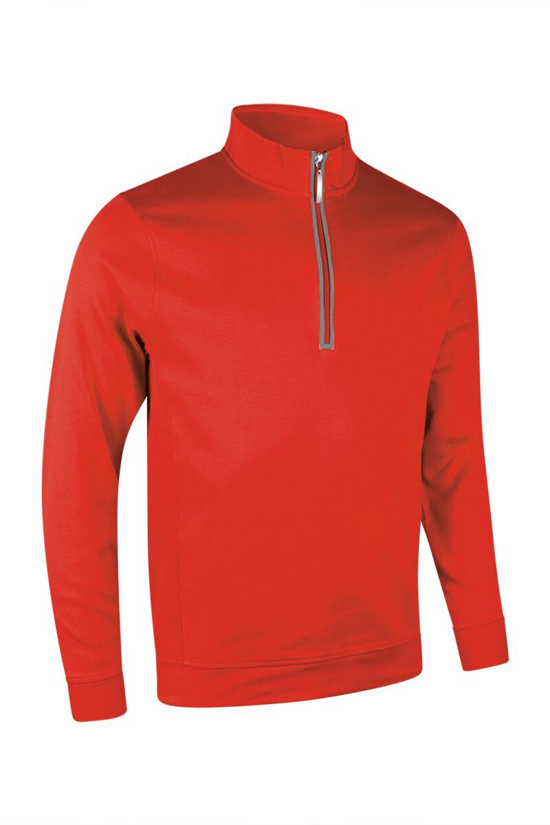 Mens Zip Neck Rib Side Panel Cotton Golf Midlayer Product Swatch
