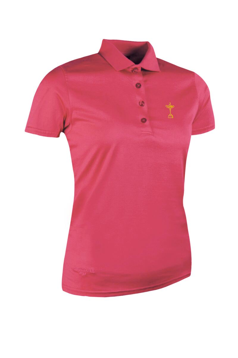 Official Ryder Cup 2018 Ladies Plain Mercerised Cotton Golf Polo Shirt Product Swatch