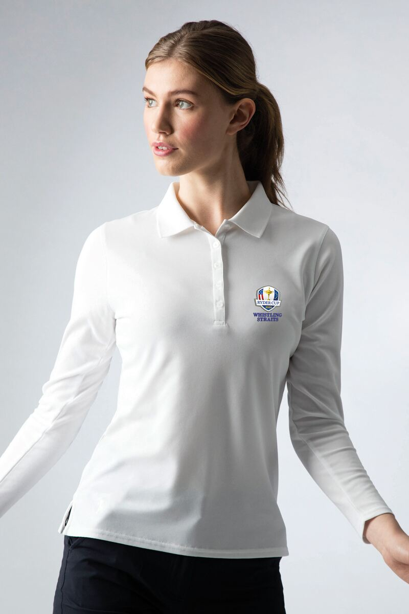 Official Ryder Cup 2020 Ladies Long Sleeve Performance Pique Golf Polo Shirt