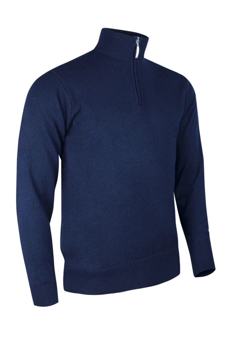Mens Zip Neck Water Repellent Lined Extra Fine Merino Wool Golf Sweater Product Swatch