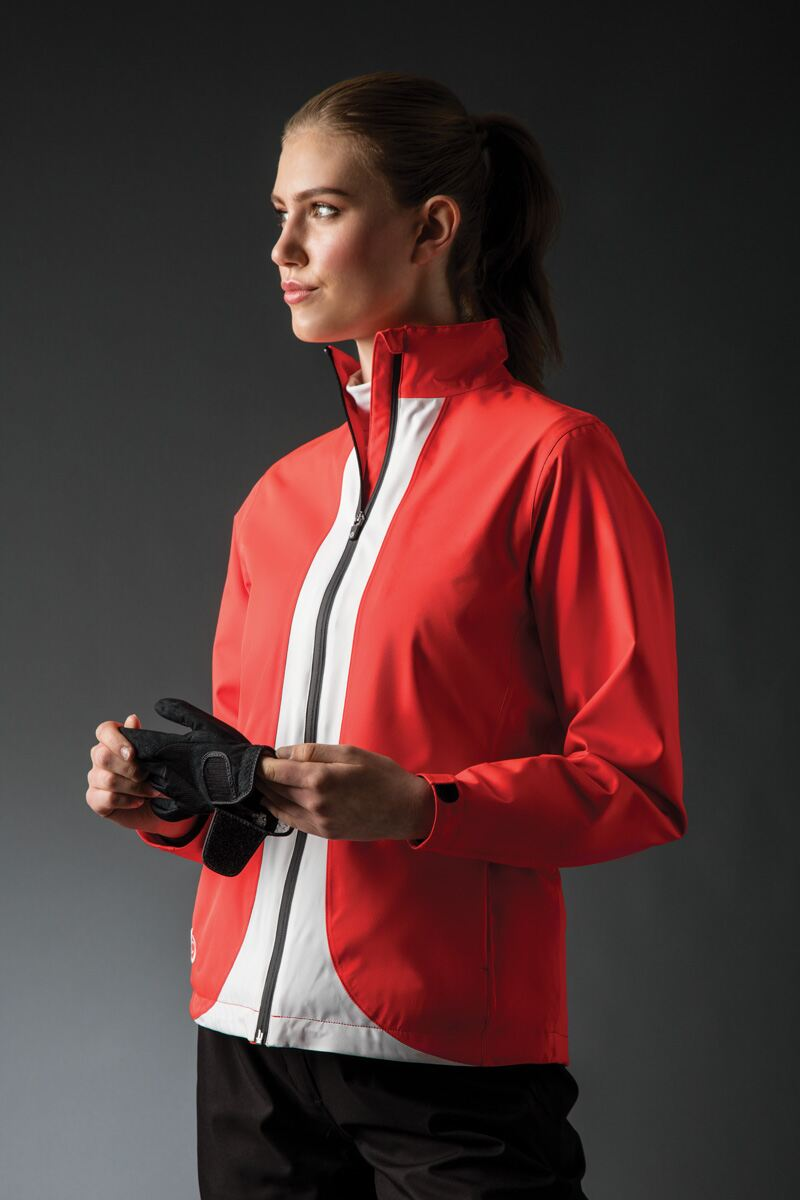 Ladies Zip Front Contrast Colour Lightweight Waterproof Golf Jacket Product Image 1