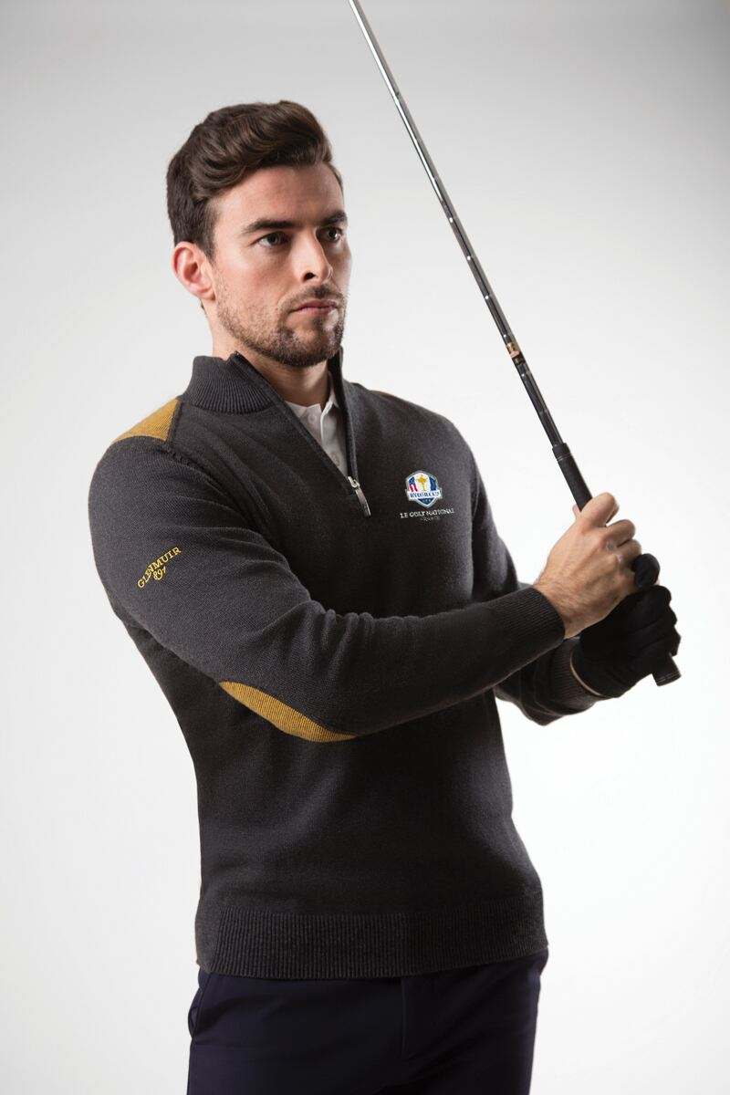 Official Ryder Cup 2018 Mens Zip Neck Birdseye Stripe Touch of Cashmere Golf Sweater Product Image 1
