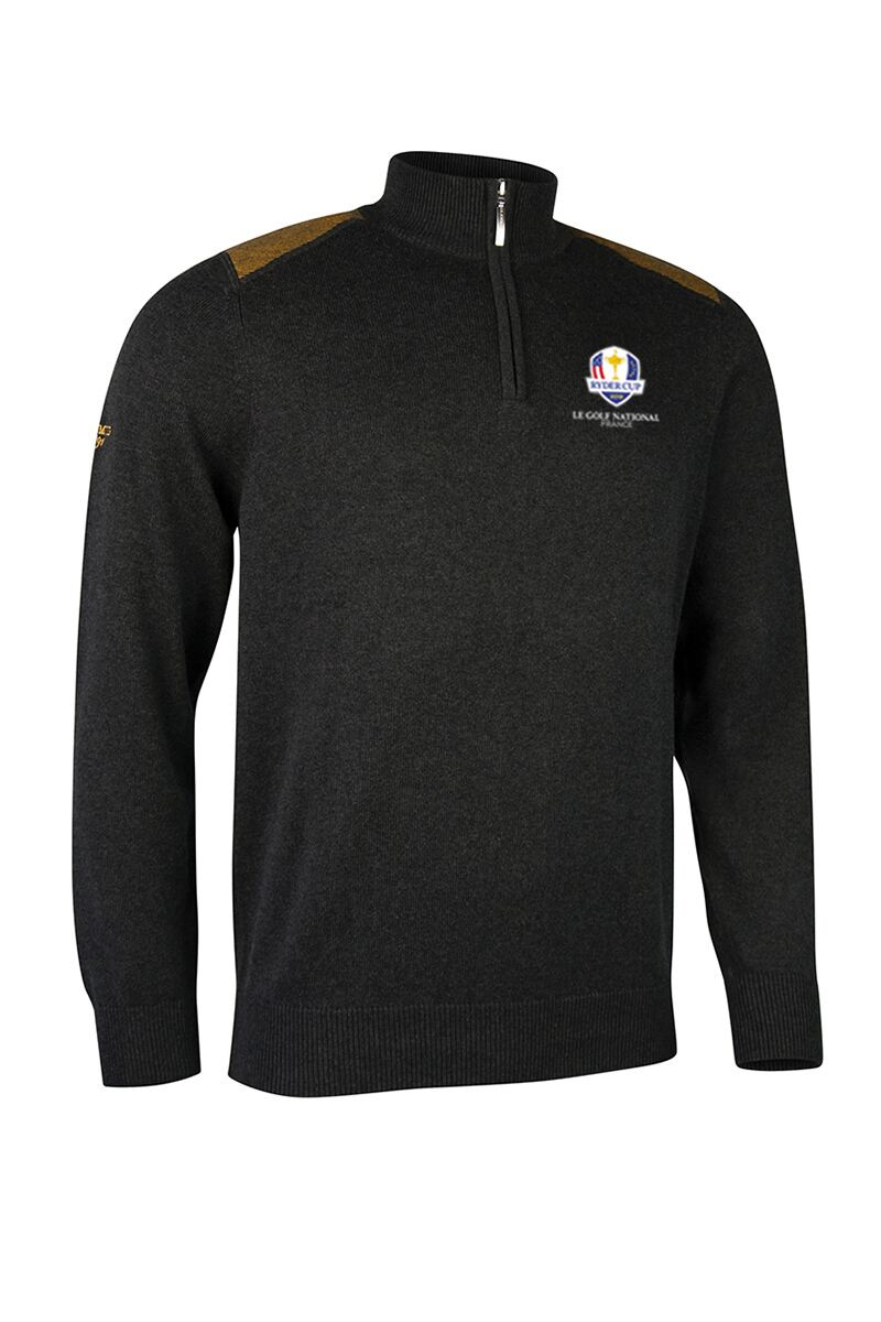 Official Ryder Cup 2018 Mens Zip Neck Birdseye Stripe Touch of Cashmere Golf Sweater Product Swatch