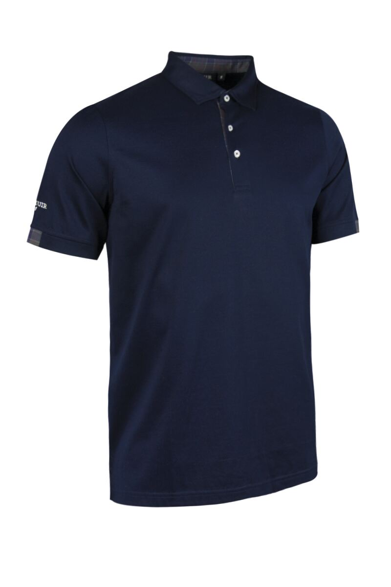 Mens Tartan Cuff and Placket Mercerised Cotton Tailored Collar Golf Polo Product Swatch