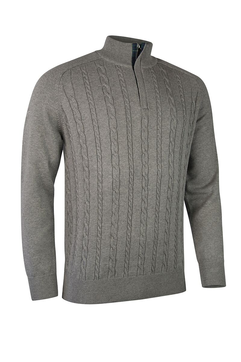 Mens Zip Neck Cable Tartan Placket Touch of Cashmere Golf Sweater Product Swatch