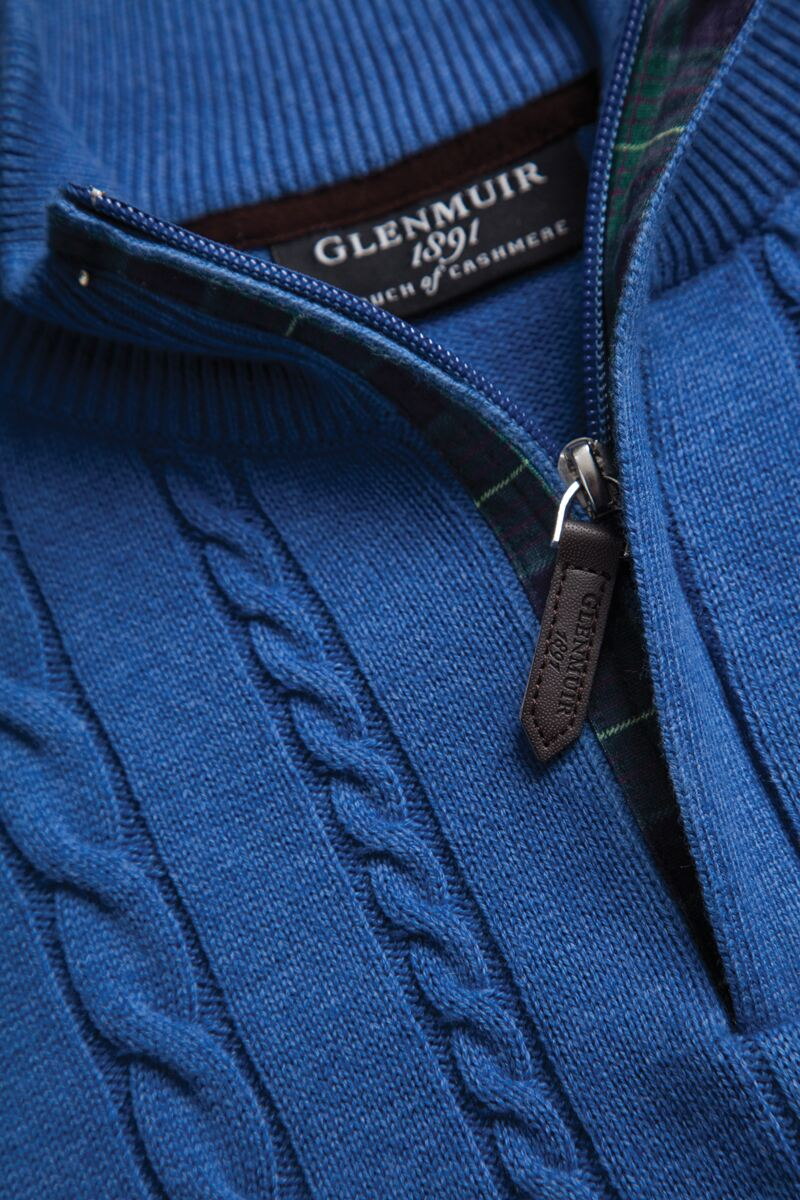 Mens Zip Neck Cable Tartan Placket Touch of Cashmere Golf Sweater Product Image 3