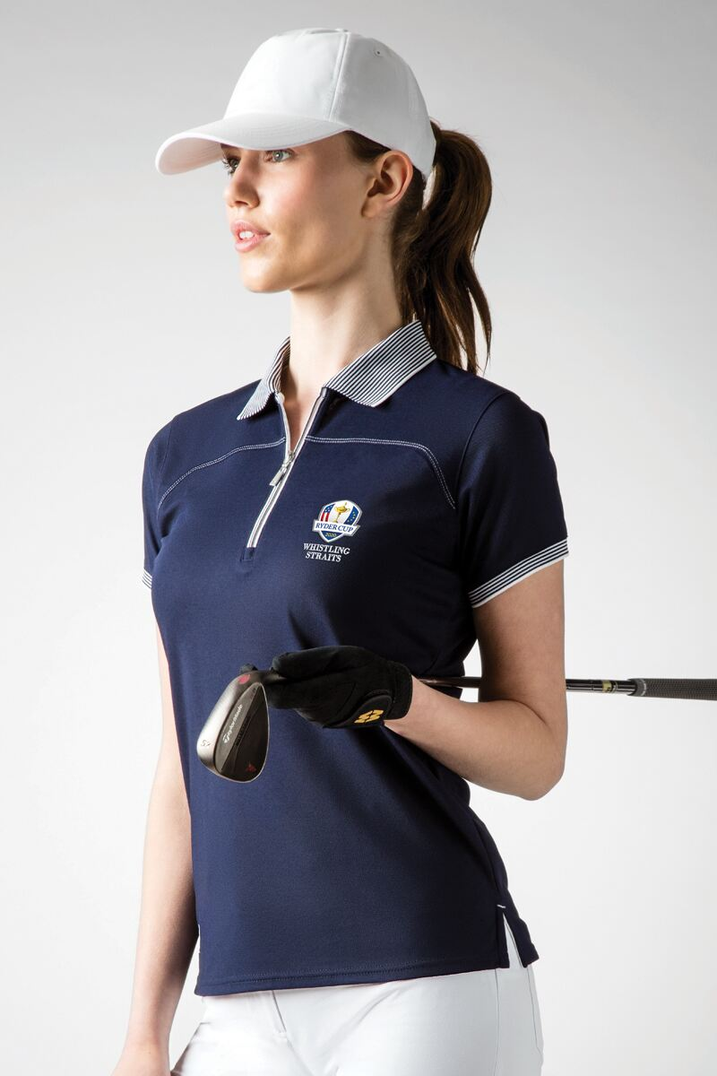 Official Ryder Cup 2020 Ladies Zip Neck Performance Pique Golf Polo Shirt