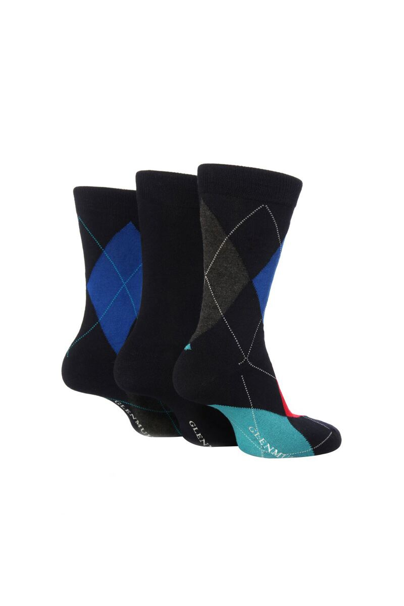 Mens 3 Pair Classic Bamboo Abstract Argyle Socks Product Image 1