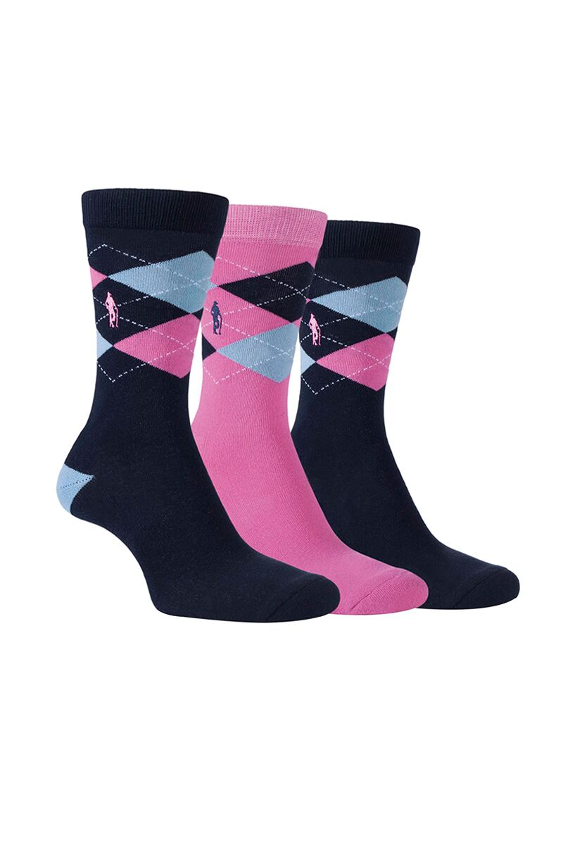 Ladies 3 Pair Argyle Jacquard Cotton Golf Socks Gift Box Product Swatch