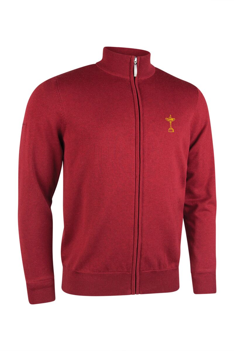 Official Ryder Cup 2018 Mens Zip Front Lightweight Stretch Lined Cotton Golf Sweater Product Swatch