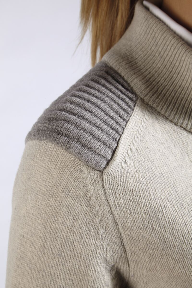 Ladies Zip Through Ottoman Shoulder Panel Lambswool Blend Cardigan - Sale Product Image 2