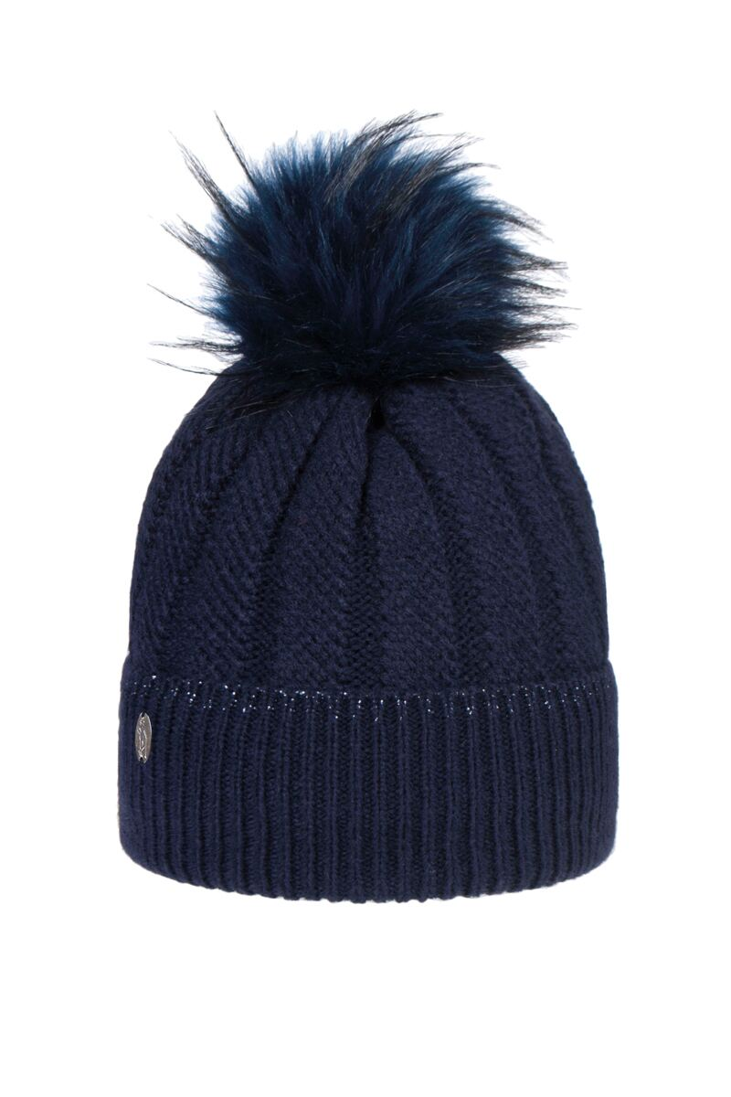Ladies Thermal Lined Rib Faux Fur Pompom Beanie Hat Product Swatch
