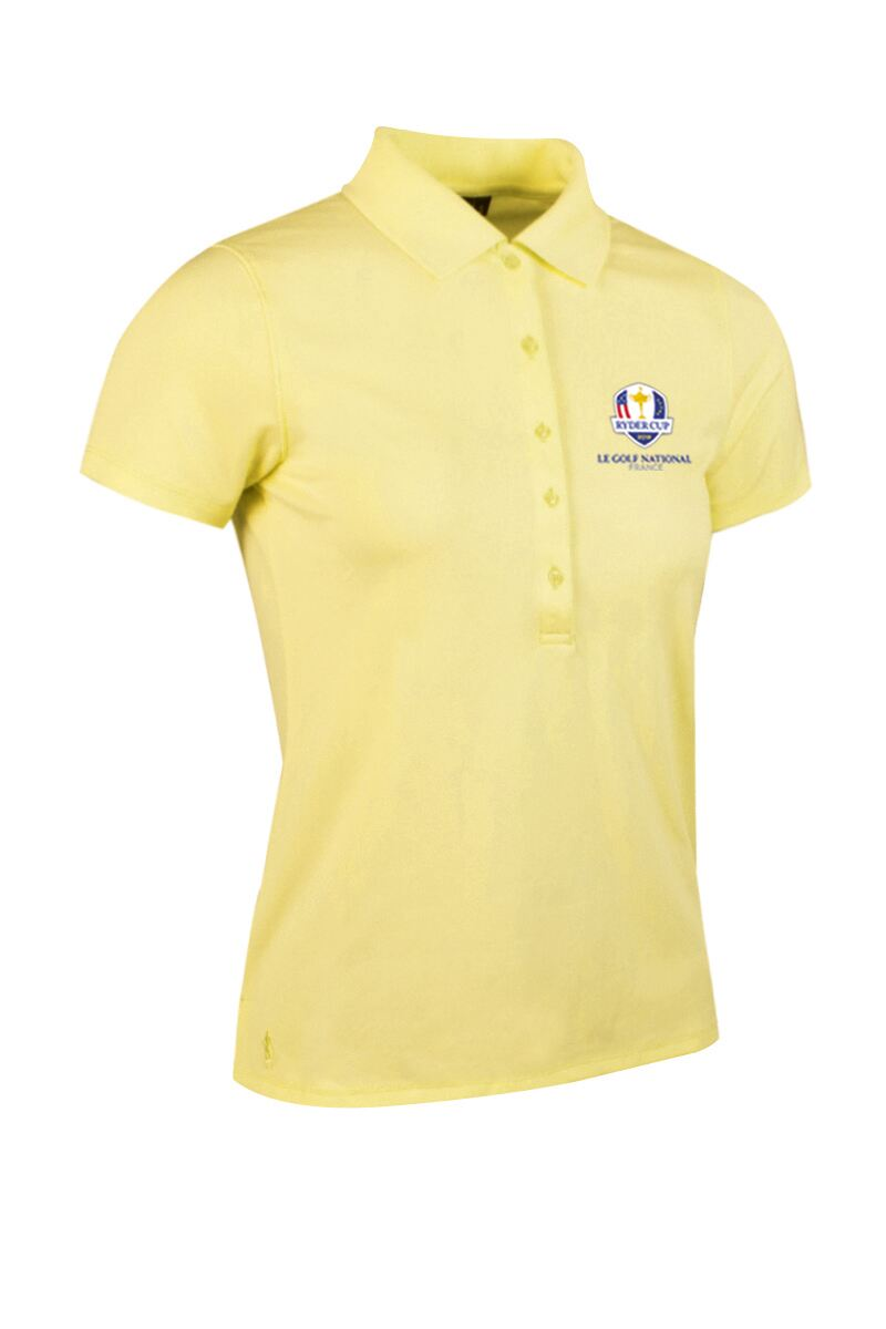 Official Ryder Cup 2018 Ladies Performance Pique Moisture Wicking Golf Polo Shirt Product Swatch