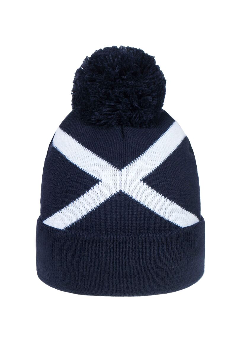 Unisex Thermal Lined Saltire Golf Bobble Beanie Hat Product Swatch
