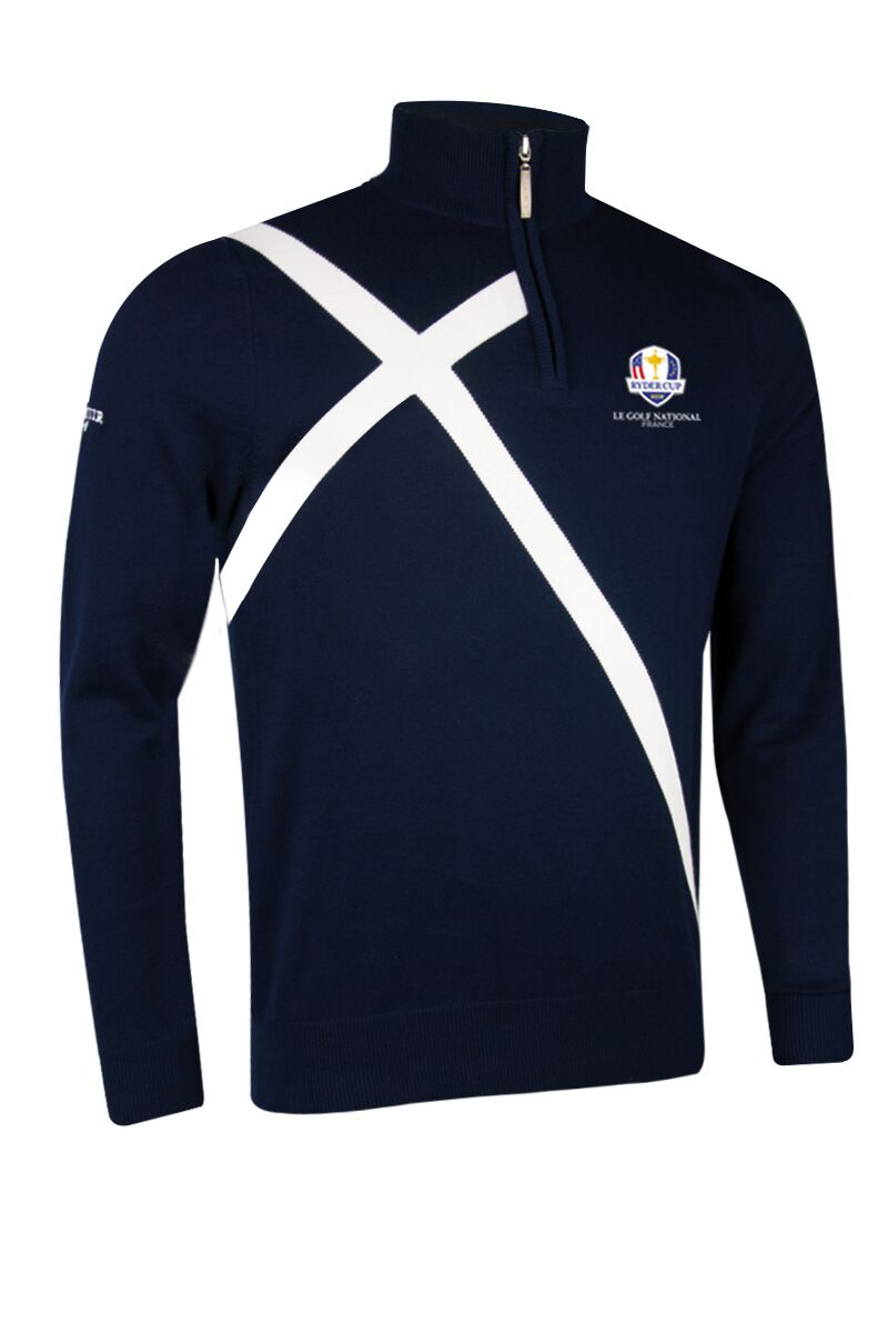 Official Ryder Cup 2018 Mens Zip Neck Saltire Cross Cotton Golf Sweater Product Swatch