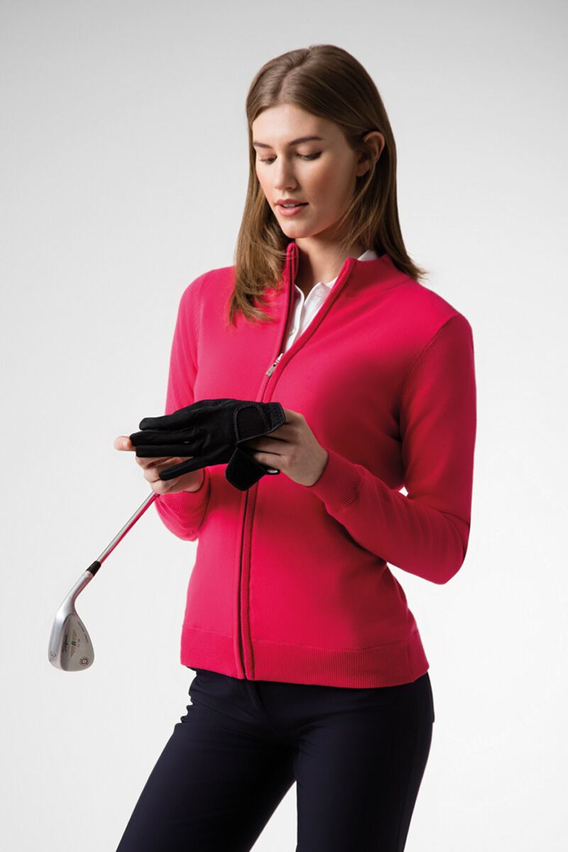 Ladies Zip Front Stripe Collar Lined Cotton Golf Sweater Product Image 1