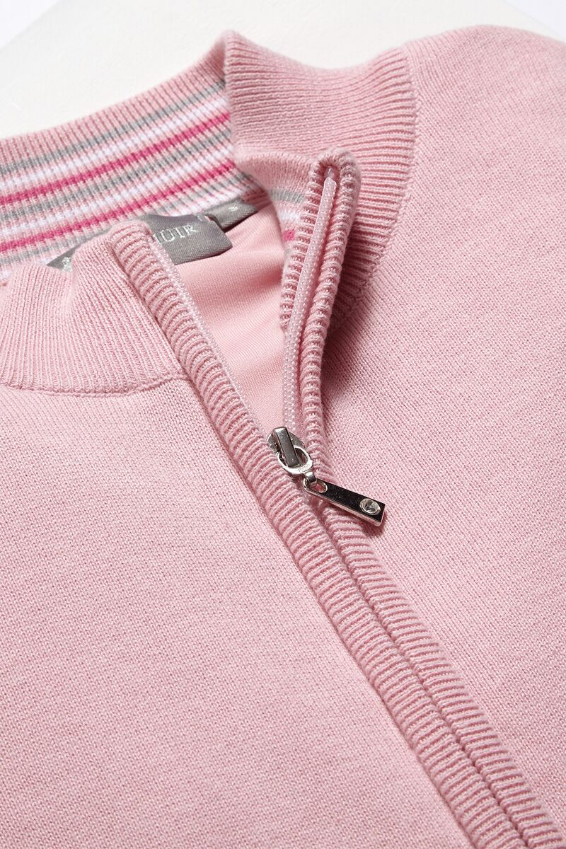 Ladies Zip Front Stripe Collar Lined Cotton Golf Sweater Product Image 2