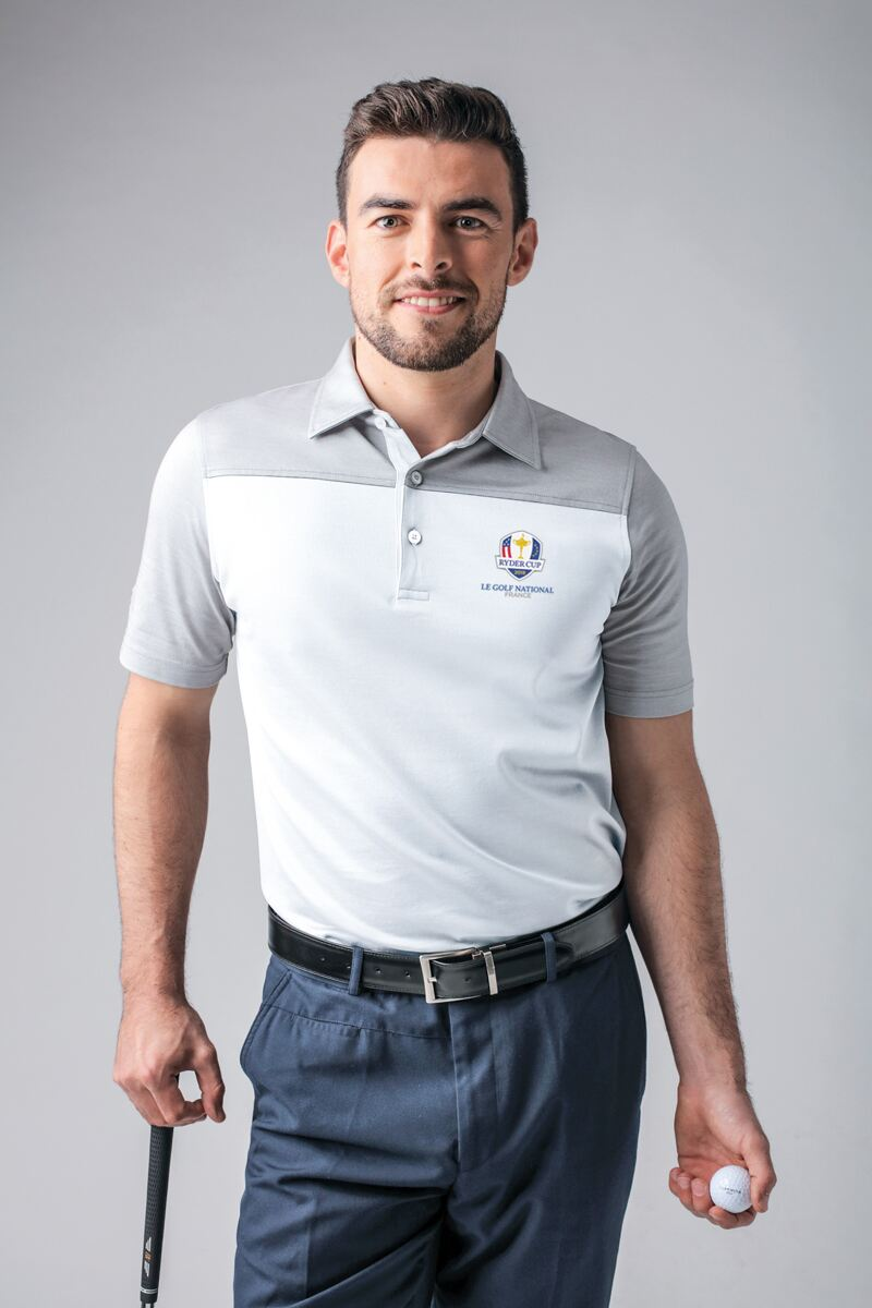 Official Ryder Cup 2018 Mens Cross Dyed Shoulder and Sleeve Golf Polo Shirt