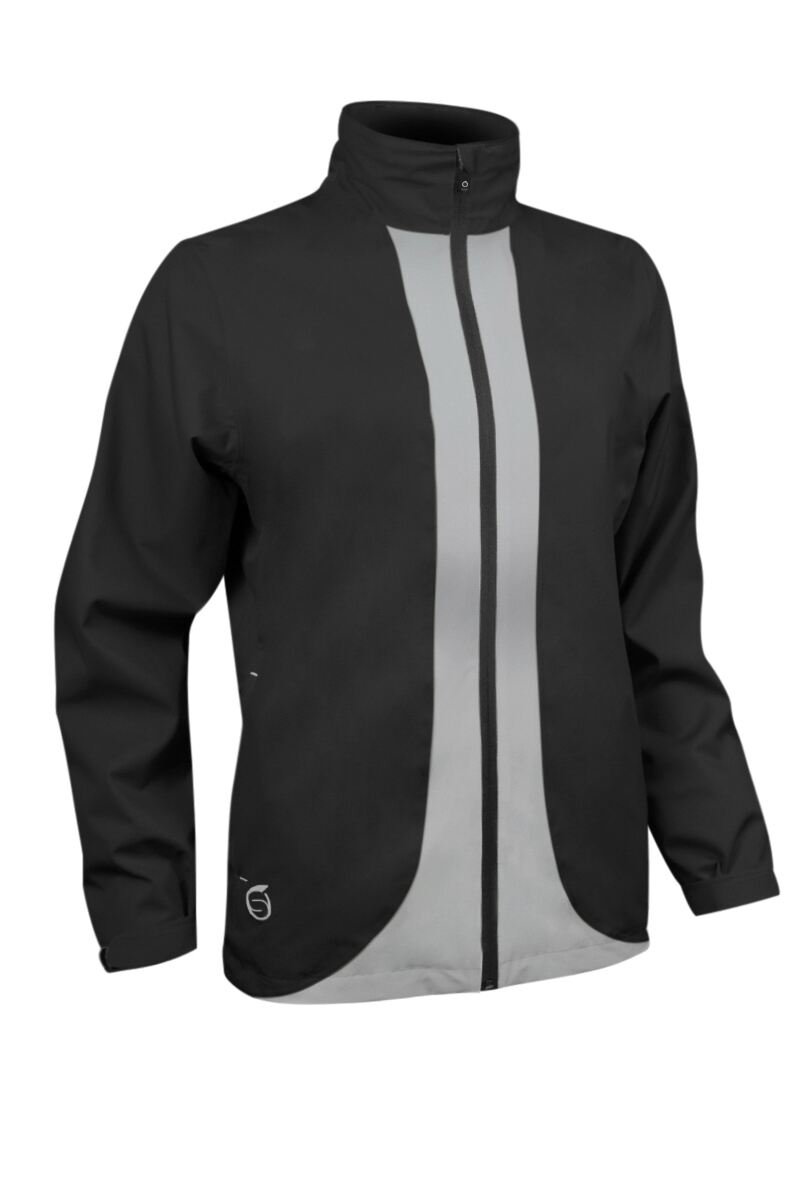 Ladies Zip Front Contrast Colour Lightweight Waterproof Golf Jacket Product Swatch