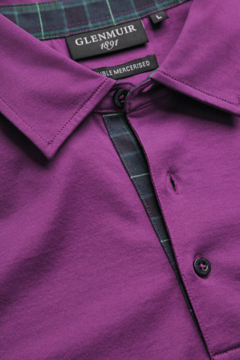 Mens Tartan Cuff and Placket Mercerised Cotton Tailored Collar Golf Polo Product Image 3