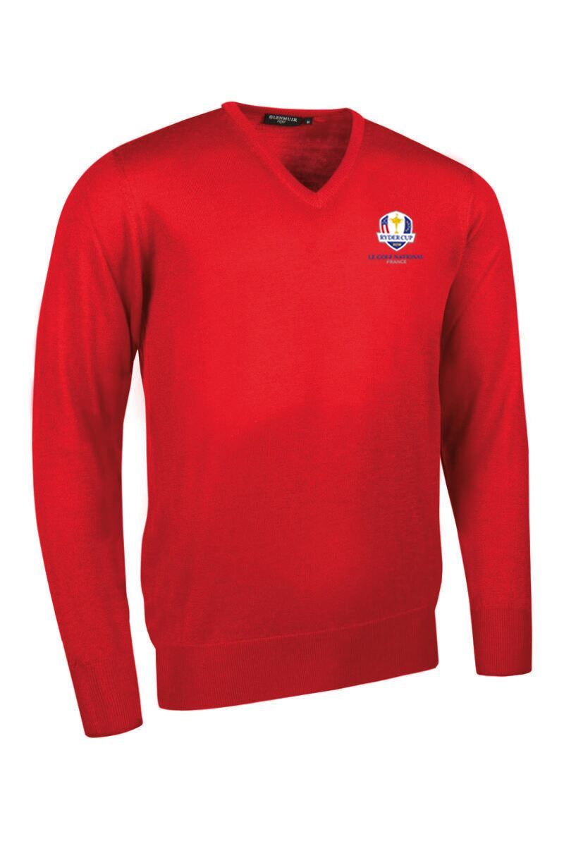 Official Ryder Cup 2018 Mens V Neck Merino Wool Golf Sweater Product Swatch