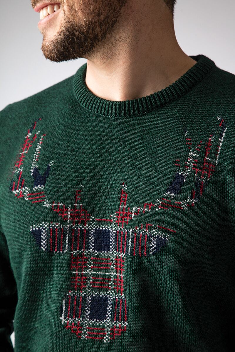 Mens Tartan Stag Christmas Sweater Product Image 2