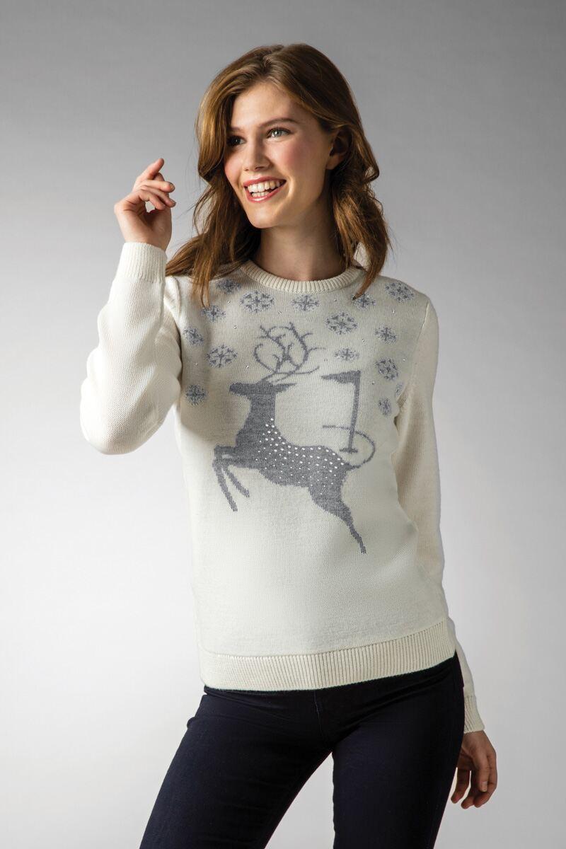 Ladies Diamante Stag Christmas Sweater