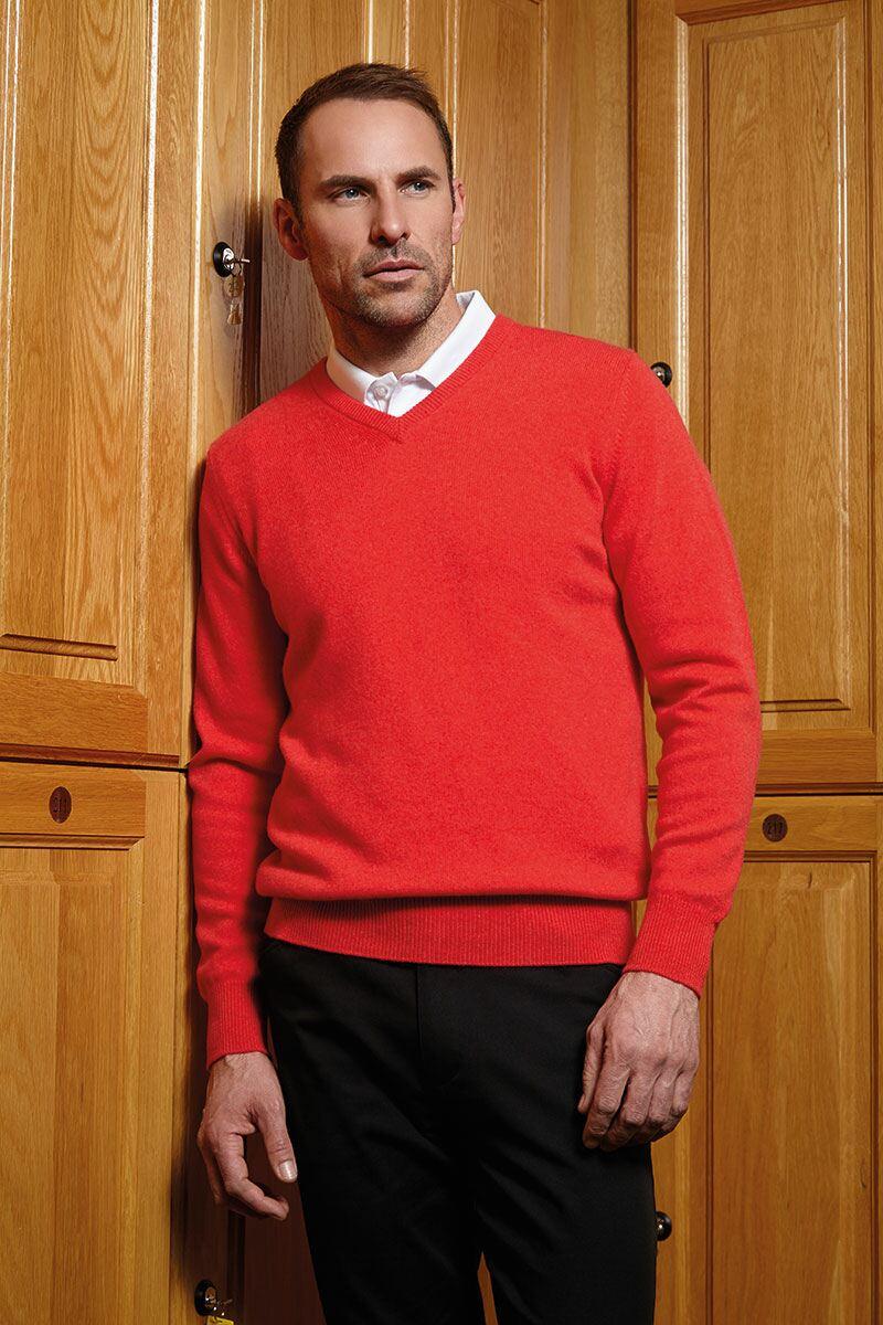 Mens 100 Cashmere V Neck Golf Sweater