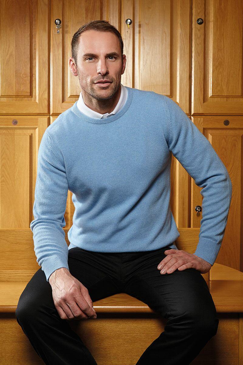 Mens Round Neck Cashmere Golf Sweater